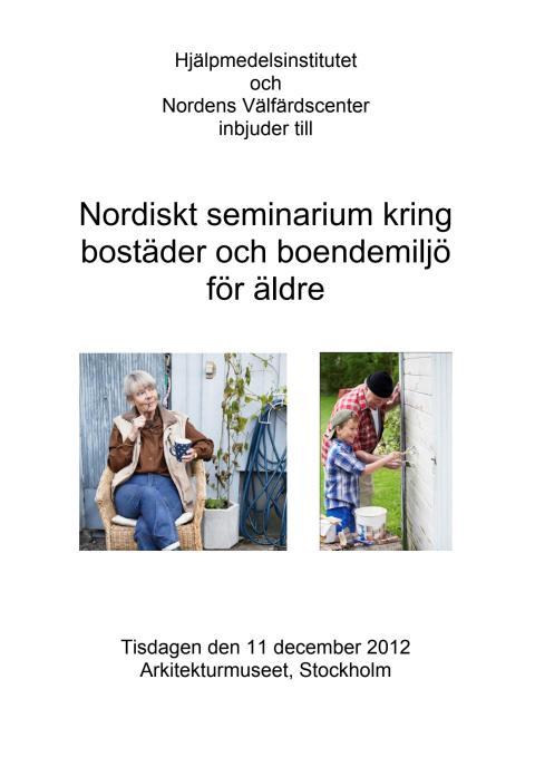 Program Nordiskt seminarium 11 december 2012