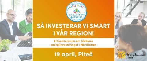 Öppet informationsseminarium kring energiinvesteringar och lokala satsningar i norra Sverige, 19 april i Piteå