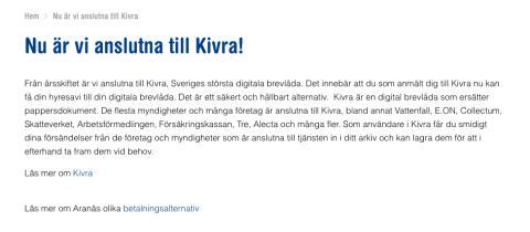 Aranäs fastigheter berättar om samarbetet med Kivra