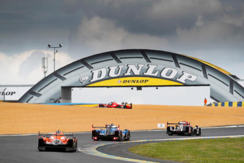 G-Drive Racing heading under Le Man's Dunlop bridge