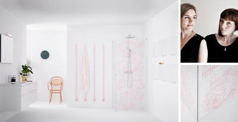 Nya duschväggen Broderie tillför en textil känsla i badrummet