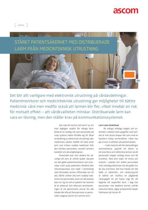 Stärkt patientsäkerhet med distribuerade larm från medicinteknisk utrustning