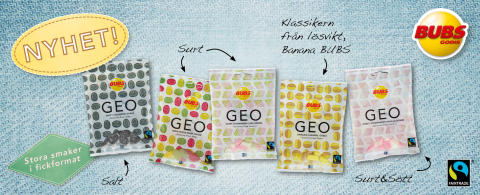 BUBS Godis fortsätter satsningen på gelatinfritt och Fairtrade med nya konceptet GEO!