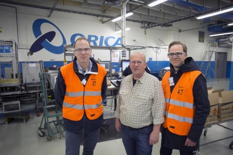 Anders Tålsgård, Lars-Göran Rohlén och Johan Lagerqvist på besök i monteringsfabriken hos Orica