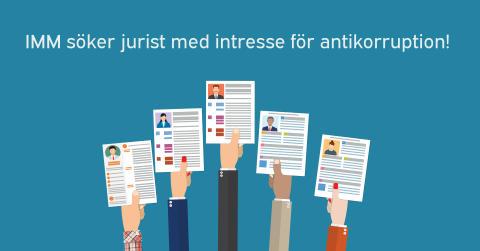 Institutet Mot Mutor (IMM) söker jurist med intresse för antikorruption