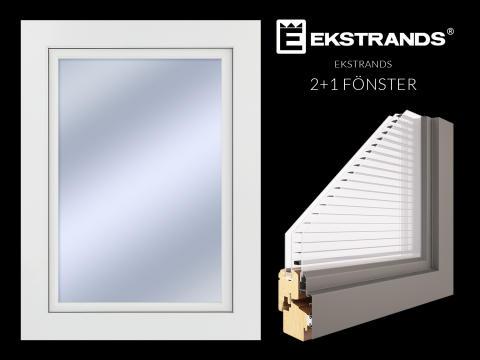 Ekstrands 2+1 fönster med persienn