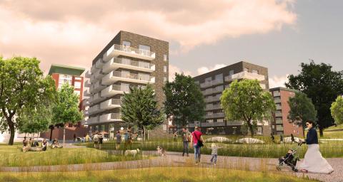 Visionsbild av Arkitema AB, två nya bostadshus i Larsberg.