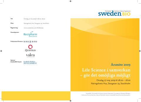Program till SwedenBIOs Årsmöte 27 maj i Stockholm