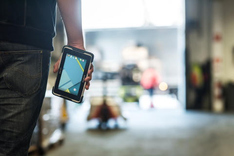 The ALGIZ RT7 ultra-rugged Android tablet in warehouse