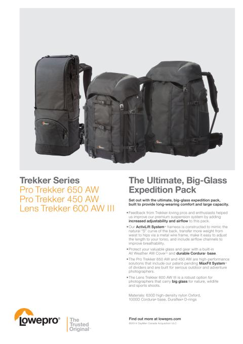 Lowepro Pro Trekker, datablad