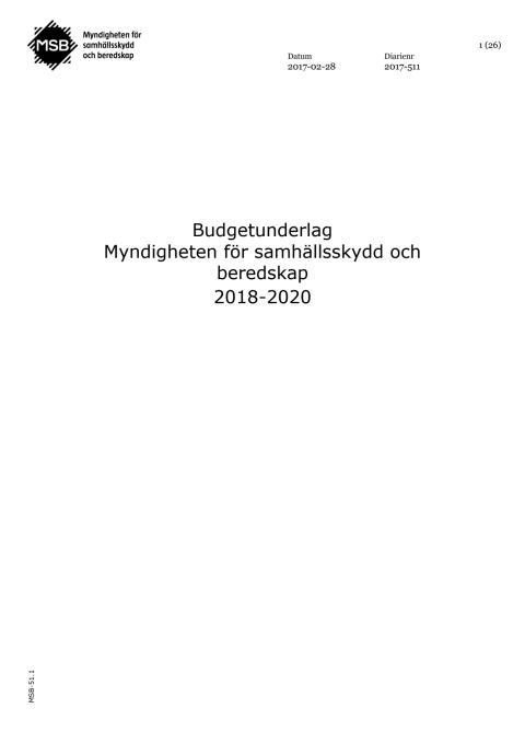 MSB:s budgetunderlag 2018-2020
