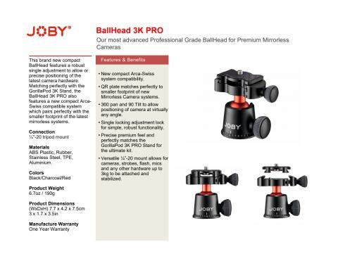 Joby GorillaPod 3K Pro Ballhead datasheet