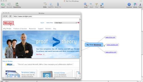 Inbyggd webbläsare i MindManager 8 för Mac