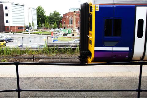 Train leaves Rochdale Station