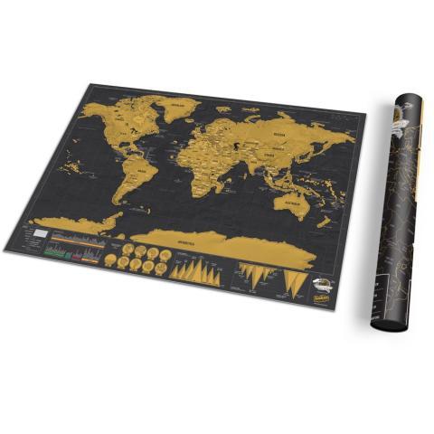 Världskarta - Scratch Map Deluxe, A3-storlek