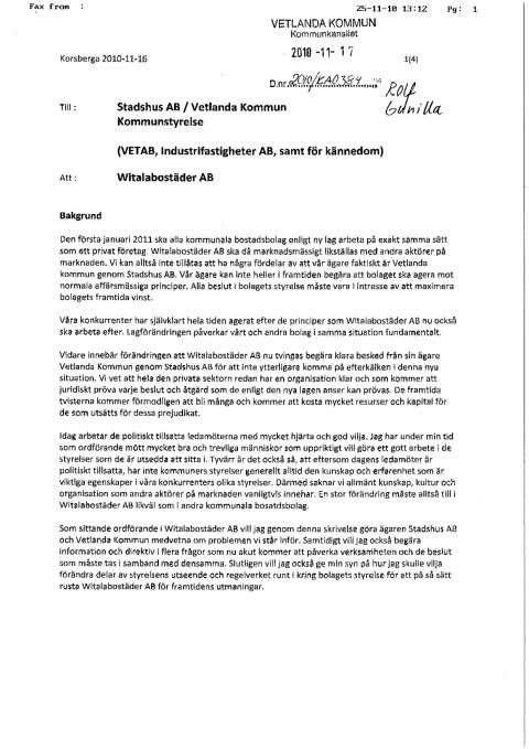 Skrivelse Vetlanda kommun - Peter Sjöbladh 101116