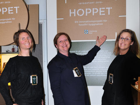 Angélica Karlsson, Göteborgs stad, byggprojektledare Hoppet, Nina Jacobsson Stålheim, Göteborgs stad, projektledare Hoppet och Anna Högberg, miljökonsult Bengt Dahlgren