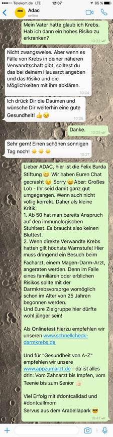 Teil 2 des Whatsapp-Chats mit dem ADAC-Service #dontcallmom