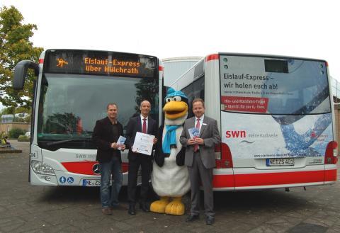 """Die SWN und die Sparkasse Neuss präsentieren Ihnen den Eislauf-Express zur """"Disco on Ice""""!"""