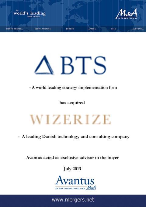 BTS Group förvärvar Wizerize och förstärker sin världsledande position inom strategi implementation och positionerar sig samtidigt för att leda utvecklingen av digitalt baserade upplevelser