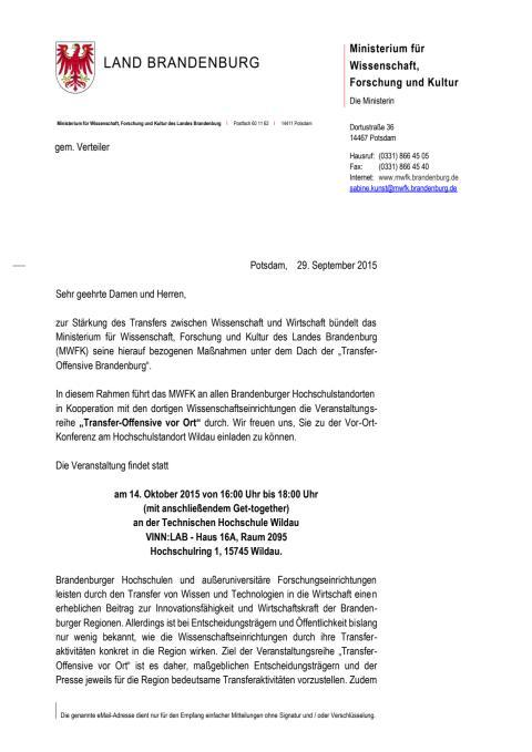 """Veranstaltungsreihe """"Transfer-Offensive vor Ort"""" am 14. Oktober 2015 an der TH Wildau"""