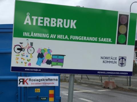 Återbruk finns nu på Görla återvinningscentral i Norrtälje kommun