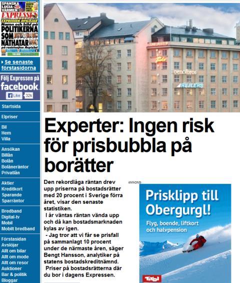 Experter: Ingen risk för prisbubbla på borätter
