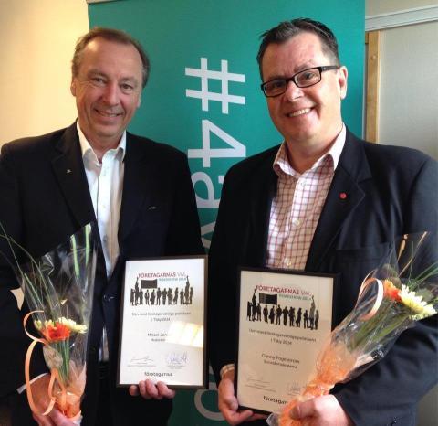 Täbys mest företagarvänliga politiker 2014 är Mikael Jensen (m) och Conny Fogelström (s)