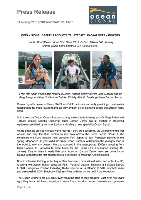 Ocean Signal Safety Products Trusted by Leading Ocean Rowers