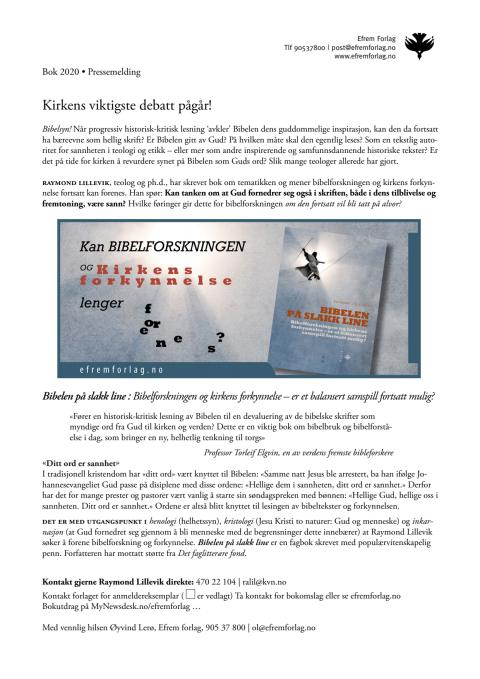 Pressemelding pdf: Bokutgivelse 2020, «Bibelen på slakk line»