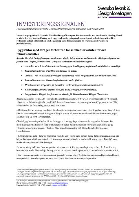 STD-företagen pressmeddelande: Investeringssignalen, mars 2015