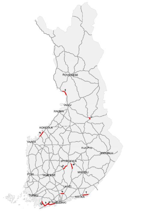 Tieosuudet, joilla on suurin hirvionnettomuustiheys (2008–2012 keskiarvo)