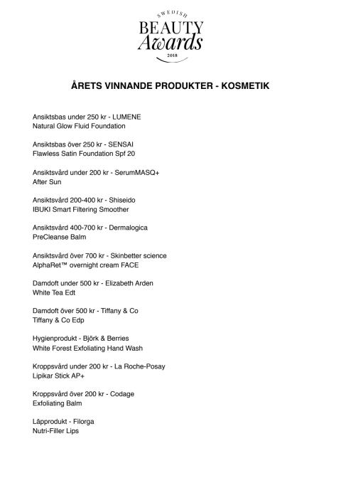 Vinnande produkter Swedish Beauty Awards 2018