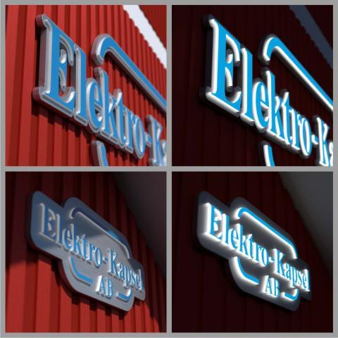 Tre exklusiva inifrån LED-belysta fasadskyltar till Elektro-Kapsel AB i Järbo