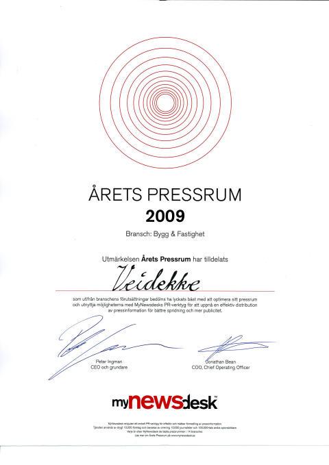 Veidekke - Årets pressrum 2009 i kategorin Bygg & Fastighet