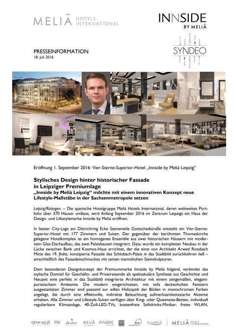 Pressemitteilung zur Eröffnung des Innside by Meliá-Hotels in Leipzig