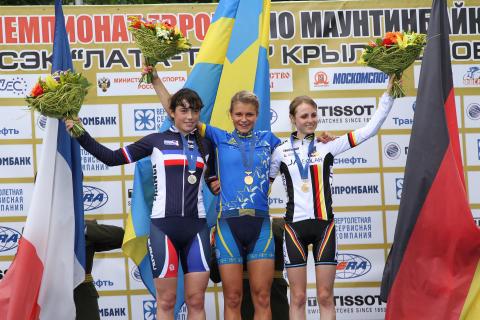 Guld till Jenny Rissveds i juniorklassen vid MTB-EM i Moskva