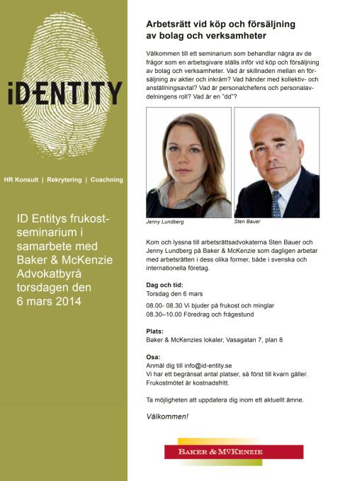 Arbetsrätt vid köp och försäljning av bolag och verksamheter - ID Entity och Baker & Mc Kenzie bjuder in till seminarium