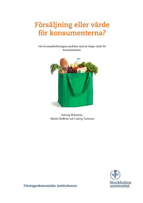 Forskningsrapport: Försäljning eller värde för konsumenten