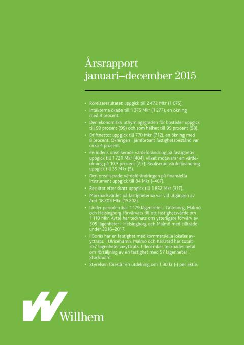 Willhems årsrapport januari-december 2015