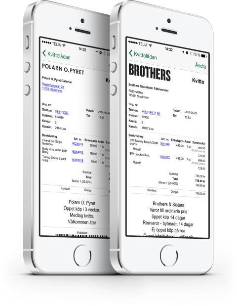Digitala kvitton hos Polarn O. Pyret och Brothers
