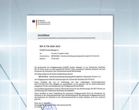 BSI erteilt TR-ESOR Zertifizierung für proNEXT Archive Manager