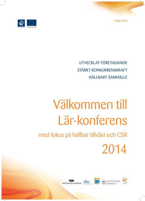 Inbjudan och program Lär-konferens 2014
