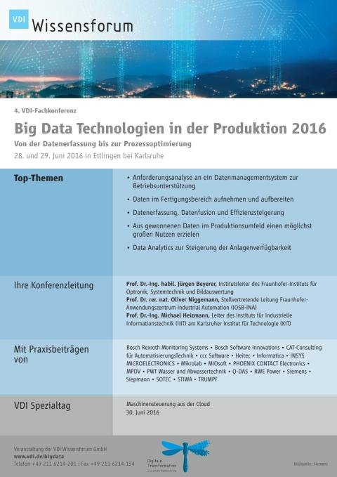 "Programm VDI-Fachkonferenz ""Big Data Technologien in der Produktion"""