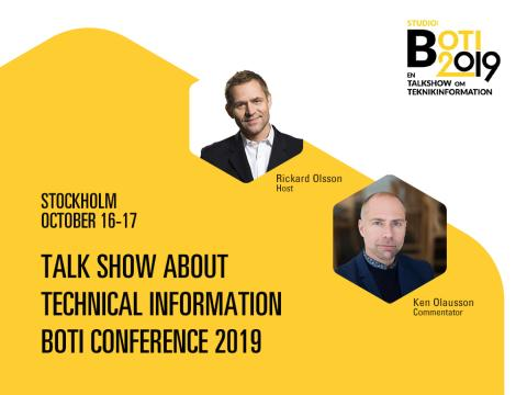 Talk Show about Technical Information – Brand New Format for BOTI Conference 2019 in Stockholm