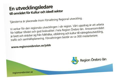 Region Örebro län söker utvecklingsledare till Kultur och ideell sektor