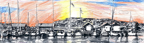 Handtecknad tapet i Svenska Båtunionens monter. Illustration: Lisa Possne Frisell