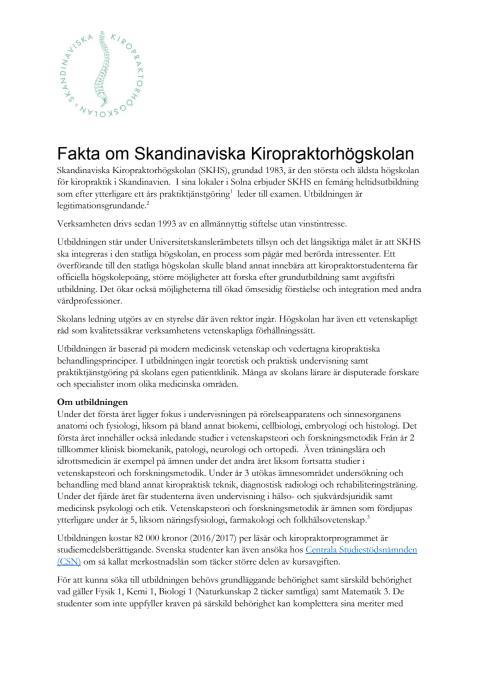 Fakta om Skandinaviska Kiropraktorhögskolan