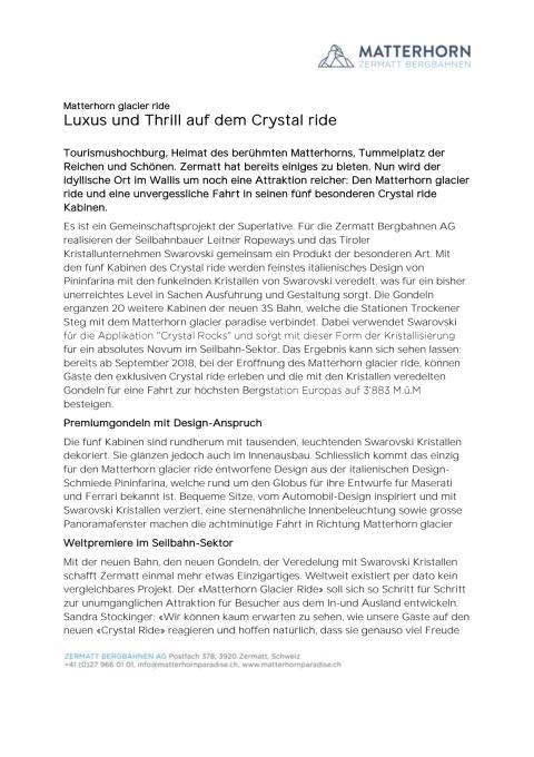 Pressemitteilung zur Kooperation mit Swarovski