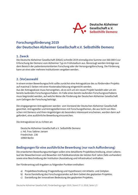 Förderbedingungen zur Forschungsförderung der DAlzG 2019
